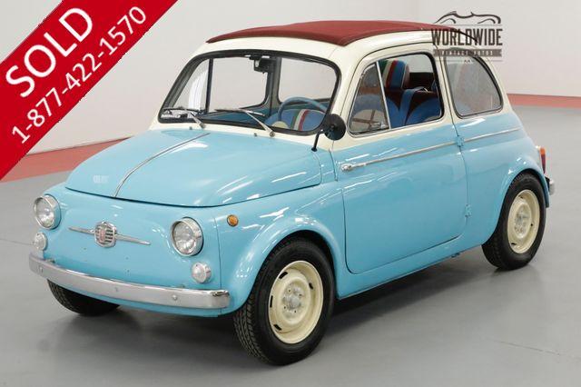 1963 FIAT 500 RARE ITALIAN FUN SUICIDE DOORS RED RAG TOP